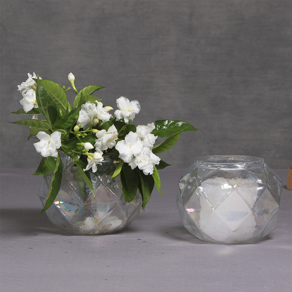 Manor House Rainbow Glass Votive cum Vase 5.5  inches set of 2