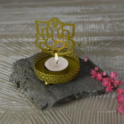 Roshni Ganesh Tealight Holder 4 inches tall