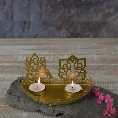 Roshni Lakshmi Ganesh Tealight Holder 4x7 inches