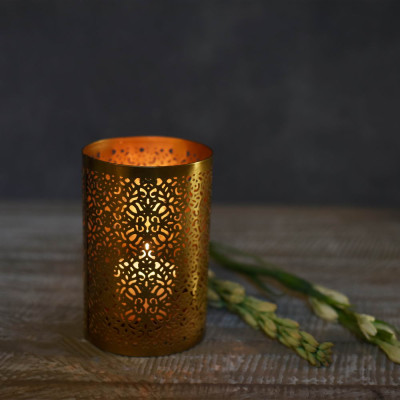Roshni Jaali Pillar Candle Holder 6 inches