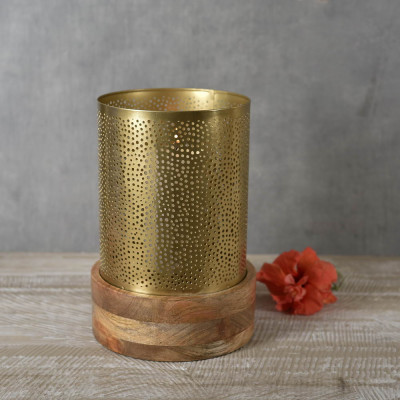 Roshni Jaali Candle Holder with Wooden Base 12 inches