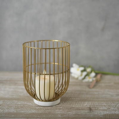 Wire Basket Pillar Candle Holder on Marble Base 9 inches tall