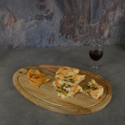 Aachman Wooden Oval Grooved Platter Cheese Board 17.5 inches