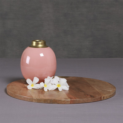 Manor House Contemporary Metal Coloured Pink Small Round Vase 6 inch tall