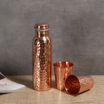 Manor House Hammered Copper Bottle for Water 900 ml
