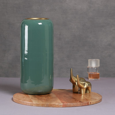 Manor House Cylindrical Green Metal Tall Vase 13 inches