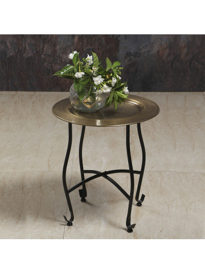 Manor House Knock Down Table Brass Finish Etched